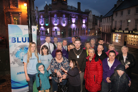 Autism NI celebrates by lighting up Council buildings across all teh councils in Norhern Ireland. Pictured with local supporters, MLA's and Councillors are Martina Anderson MEP, Margaret Ritchie MP, and Moira Denvir, CAPPA, and Autism NI's officer Rachel Gribben.