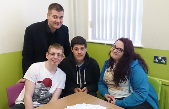 Pictured with Cllr McGrath are, from left, Kallum O'Brien, Thomas Darragh and Abbie Crumley