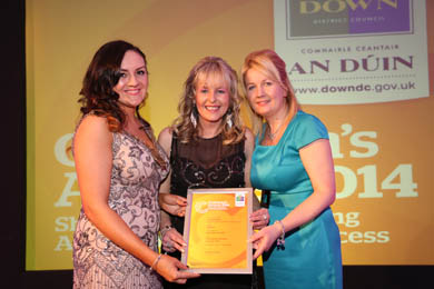 Best New Charity: Cllr Maria McCarthy congratulates Jacqui Mason on behalf of Marie Curie Donard Fundraising Group for winning in this category.  Also pictured is Master of Ceremonies Siobhan McGarry