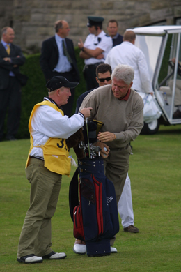 President Clinton ready for his round of golf in 2003 at Royal County Down.