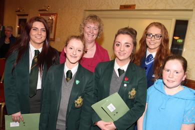 Pupils from St Malachy's High School, Assumption Grammar School and St Jospeh's PS Carnacaville attended the health committee meeting in the Burrendale Hotel in Newcastle. Included is Maruna Hanna, Head of School, St Malachy's HS.