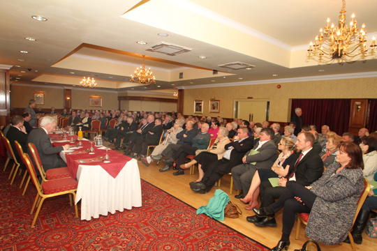 A large group of concerned residents in Newcastle listen to speakers during a meeting in Newcstle organised by the Down Community Health Committee.