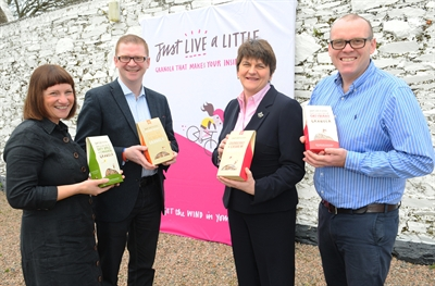 Enterprise, Trade and Investment Minister Arlene Foster and Finance Minister Simon Hamilton are pictured with Just Live a Little Ltd's David and Jill Crawford during a visit to the Portaferry-based business.