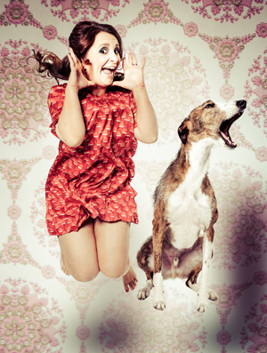 Lucy Porter - doing stand up in the Down Arts Centre.
