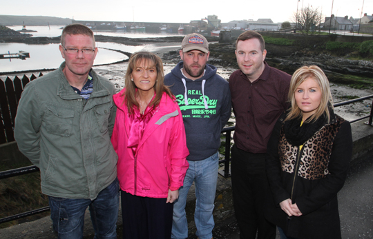 Sinn Féin MEP Martina Anderson, second left, Chris Hazzard MLA and local council candidate Naomi Bailie pictured with County Down boat owners Brian Cunningham (Kilkeel) and Stephen Kearney (Ardglass).