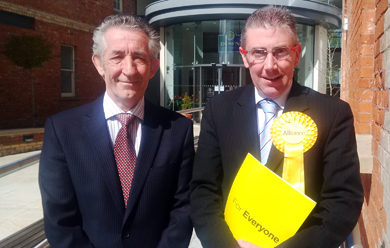 Councillor Patriick Clarke, right, with election agent Dr Michael Healy.