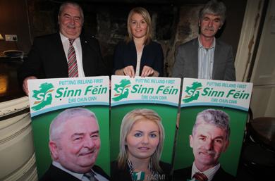Sinn FŽin local election candidates Eddie Hughes, Naomi Bailie and Eamonn Mac Con Midhe.