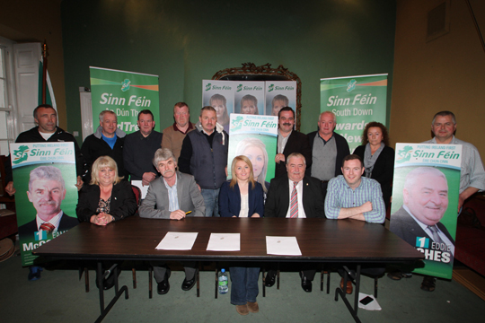 The local Down District SŽinn FéŽin candidates Eamonn Mac Con Midhe, Naomi Balie and Edddie Hughes with party officials and supporters pictured in Denvir's Hotel at the launch of their election manifesto.