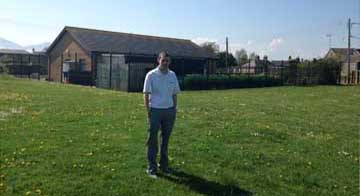 Stephen Burns pictured at the area of Ballykinler where the new play park is to be built.