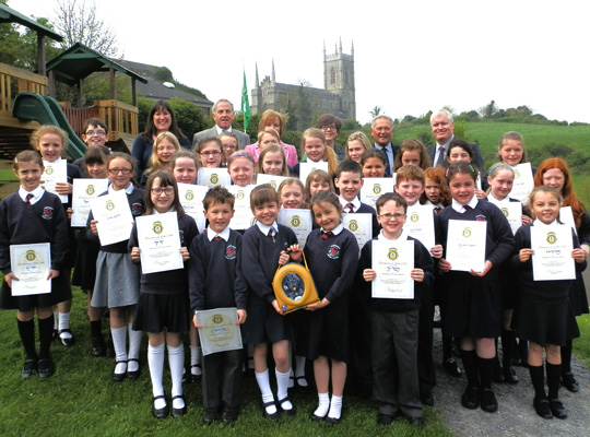 The Downpatrick Primary School Choir with their certificates from the Downpatrick Lions.