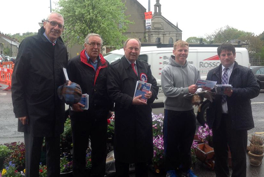 TUV MLA Jim Allister is pictured with TUC Rowallen Council candidate during their canvas in Killyleagh.