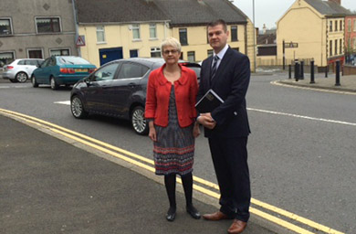 South Down MP Margaret Ritchie with Downpatrick Councillor Colin McGrath on Saul Stret in Downpatrick.