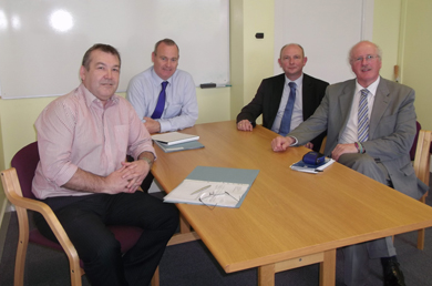 Strangford MP  Jim Shannon (Right) with , Nigel Edmunds from Portavogie and Fisheries officials  Paddy Campbell and Ian Hume.