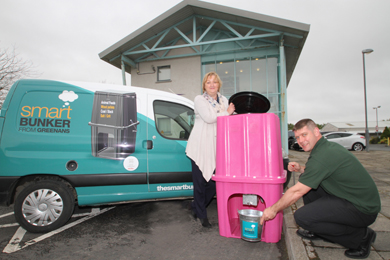 Niall Greenan, innovator of Smartbunker, with Janice Symington, Down Business Centre manager, look over the one-off shocking pink bunker make specially for the Pretty in Pink fundraising draw to be held at the Balmoral show which runs from 14-17 May.