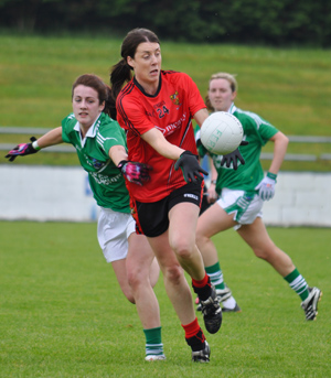 Karen McMullen in action for Down Ladies against Fermanagh.