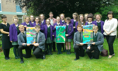 Year 10 students are pictured with their design ideas for the Mourne Big Weave tapestries.  Included in the picture are: Mrs Deirdre Keary (Head of Art), Martin McParland (local artist) and Camilla Fitzpatrick (Landscape Partnership Scheme Manager).