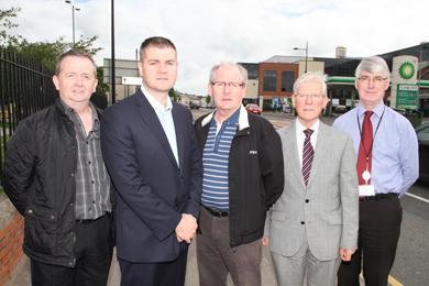At the meeting to discuss recent flooding in Downpatriock were Hugh Morgan, DRD Roads Service, Cllr Colin McGrath, Noel Trainor, Downpatrick businessman, Cllr John Doris and Gerry McBride, Down District Council Senior Officer.