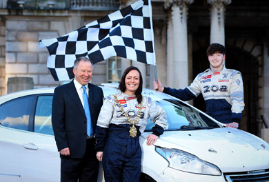 Circuit of Ireland Event Director Bobby Willis, Lord Mayor Councillor Nichola Mallon and Jon Armstrong from Kesh, who is embarking on his first ERC Junior Championship this year, announce that Belfast City Hall will host the ceremonial start of the 2015 Circuit of Ireland Rally on Thursday 2 April.