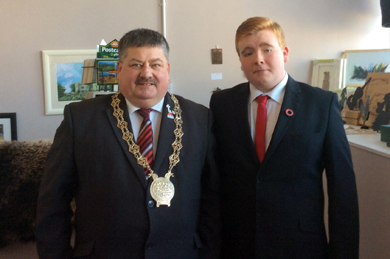 James Savage pictured with former Down Council Chairman Cllr Billy Walker in 2014.