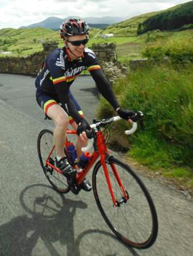 Damien Merron cycling in the Gran Fondo last year.