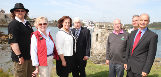 Sean Keogh, Ardglass Vikings, Primrose Wilson, Follies Trust, Cllr Gillian Fitzpatrick, Vice Chairperson of Newry Mourne and Down District Council, Cllr Dermor Curran, Joe Furphy, Ulster Wildlife Trust, with NIFA Ardglass HArbourmaster John Smyth and Chief Executive Kevin Quigley.