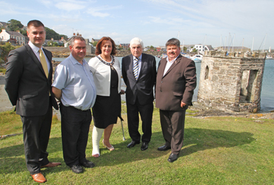 Councillors Colin McGrath, Terry Andrews, Gillian Fitzpatrick, Vice Chairman of Newry Mourne and Down District Council, Councillor Dermot Curran with Billy Walker at the launch of the refurbished bathing house in Ardglass.