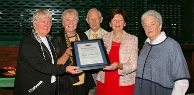 Leila Jackson . Chair N.I. U3A), Noreen Boyd Chair Downe U3A, Paddy Killen, Monica Devlin and Nuala McAleenan, Past Chair Downe U3A and member since its inception.