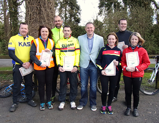 Cargo Rice,Fiona Curran, Sarah Hodge, Noel O'Neill, Mickey Clarke, Brian Spence and  Phillip Hodge, -who completed the Sprocket Rocket course.