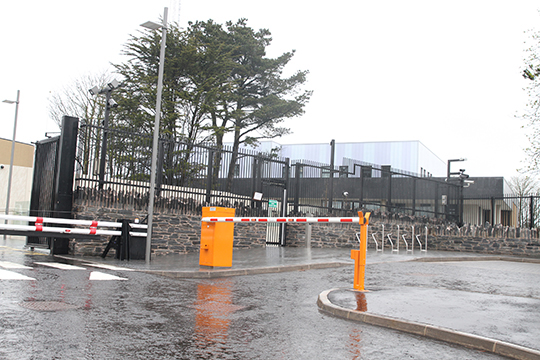 The front gate at Downpatrick police station.