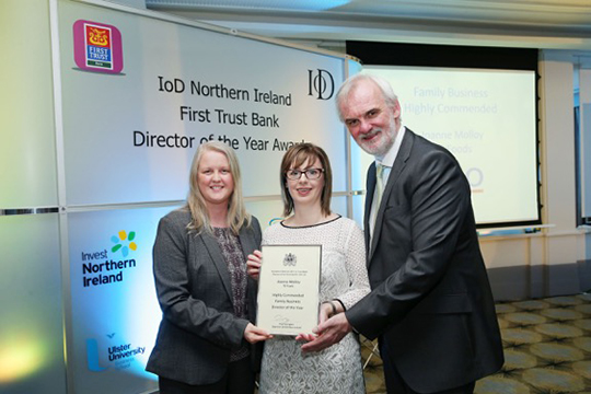 (l-r) Maybeth Shaw (Partner, Tax & Wealth Management BDO), Joanne Molloy (Commercial Director, TS Foods) and event host Tim McGarry (author, actor and comedian) ay the IoD awards in the Merchant Hotel in Belfast.