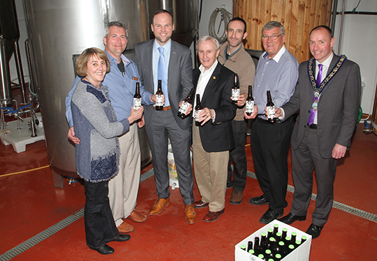 At the Sister Cities visit to Warrenpoint, pictured at Mourne Mountain Brewery, are Pinehurst Mayor Nancy Fiorillo, Reagan Parsons, Southern Pines Town Manager, Connaire McGreevy, brewery owner, Jim Simeon, Southern Pines Councillor, Tom Ray, brewing manager, with Newry Mourne and Down District Councillor Michael Carr and Council Chairman, Cllr Mickey Ruane.