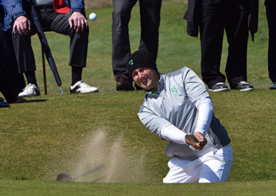 Winner Colm Campbell (Warrenpoint) bunkered at the 12th green in the final round of the 2016 Flogas Irish Amateur Open Championship at The Royal Dublin Golf Club.