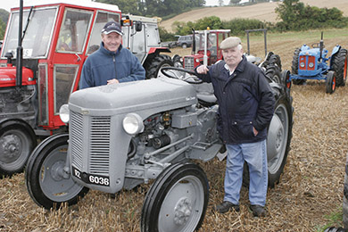 Tom Curran, right, with his 1956 Ferguson T20 chats to Fred Stranney at the Seaforde Vintage Rally.