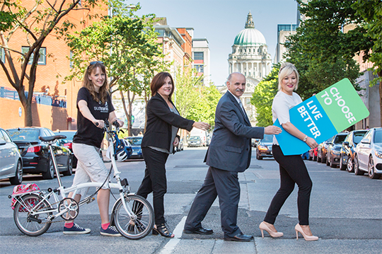Claire McLernon, Active Travel Officer with Sustrans; Colette Brolly, PHA Lead for Physical Activity; Dr Eddie Rooney. Chief Executive of the PHA; and Health Minister Michelle O'Neill, launch the Public Health Agency's new physical activity campaign which encourages people to take more steps to get active and choose to live better.