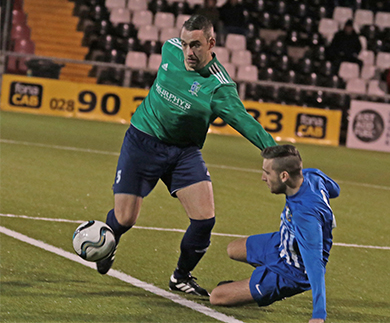 Sub Tony McIlhone played his part in the Downpatrick victory over Immaculata at Seaview.