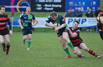 Craig Trenier stops an Armagh try scoring opportunity.