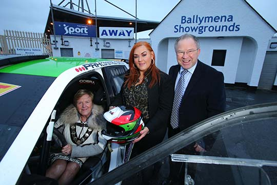 Mid and East Antrim Mayor, Councillor Audrey Wales MBE in the driving seat of the new Circuit Festival 2017 along with Council Chief Executive Anne Donaghy and Event Director Bobby Willis.